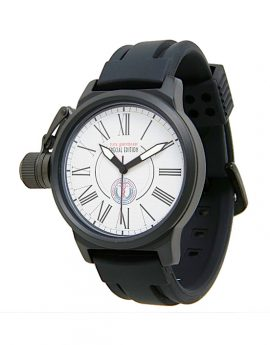 WAMS Crown Protector Black Rubber Strap Watch 1