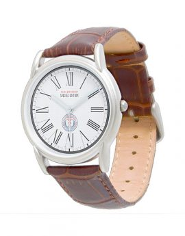 WAMS Men's Classic Brown Leather Strap Watch 1