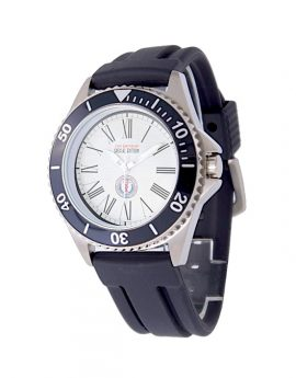 WAMS Stainless Steel Black Rubber Strap Watch 1